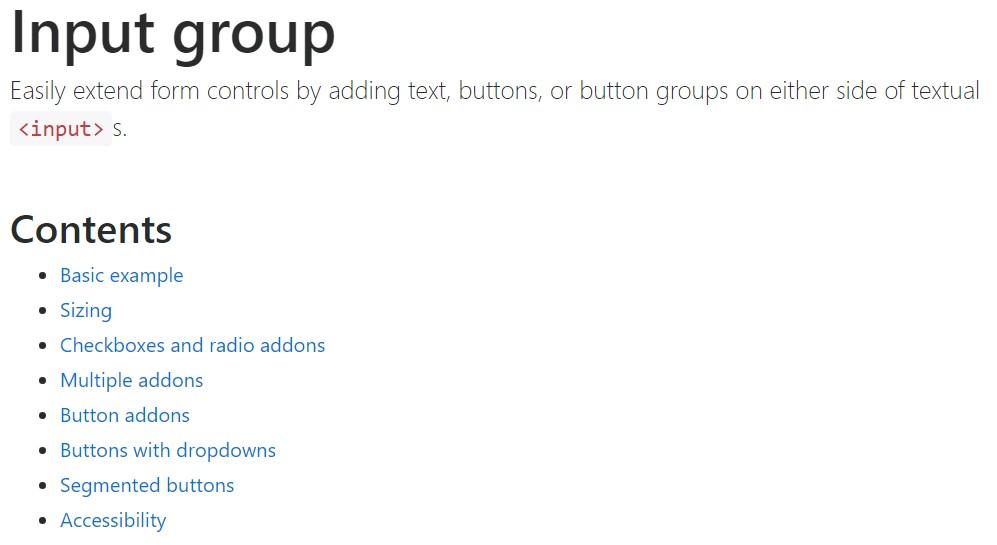 Bootstrap input  main documentation