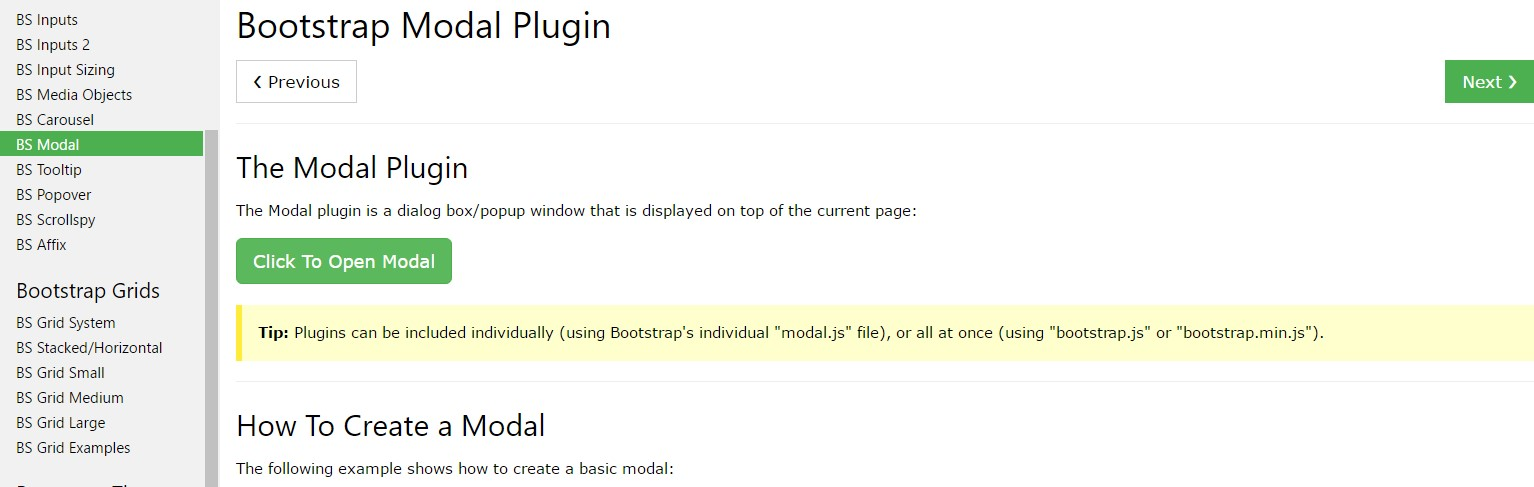 Bootstrap Modal Popup:  information  training